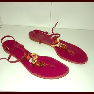 MOSCHINO hot pink beaded sandals!!